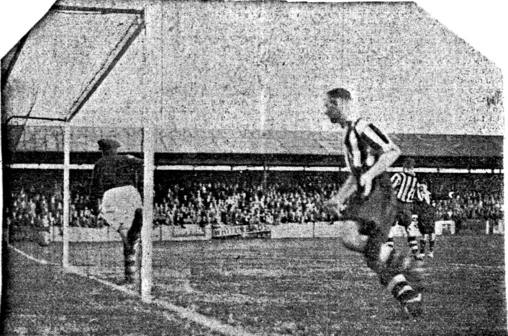 Atkinson scoring Southport's first goal in the match against Bradford City