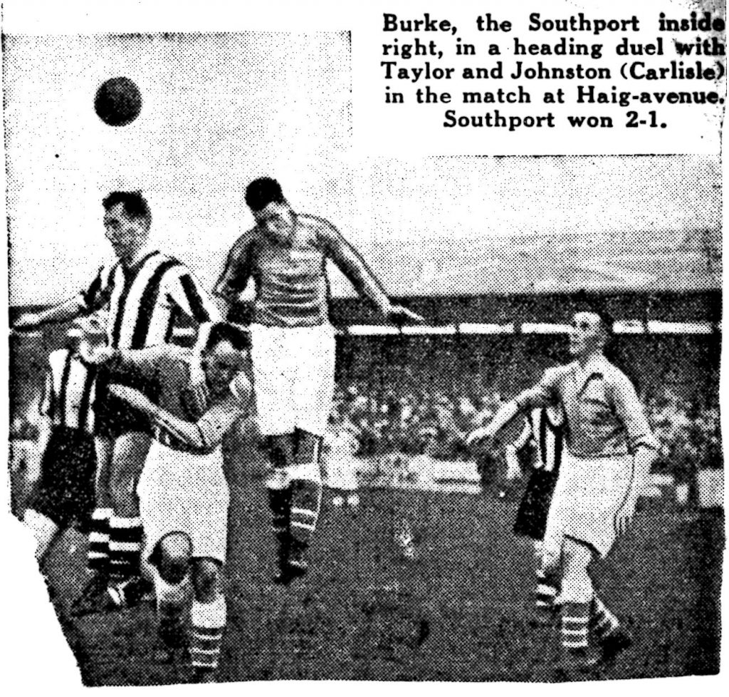 Burke, the Southport inside right, in a heading duel with Taylor and Johnston (Carlisle) in the match at Haig Avenue.