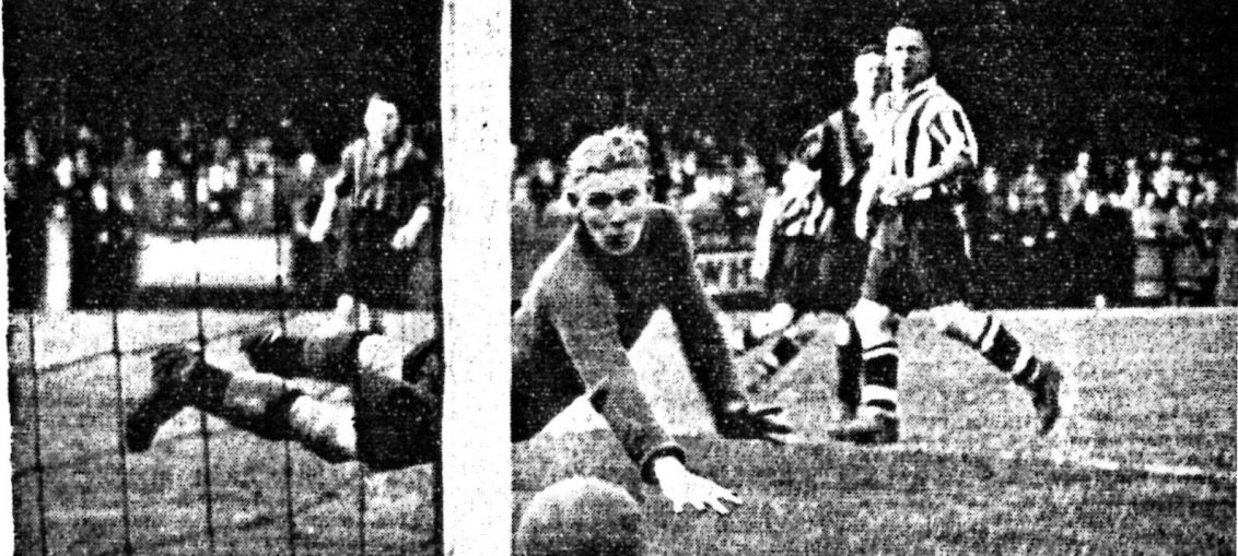 One of the many occasions on which Goodall, the Hull City goalkeeper, saved what appeared to be a certain goal