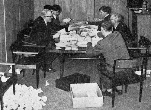 General secretary Gordon Hunt and assistants work on the mammoth task of allocating tickets