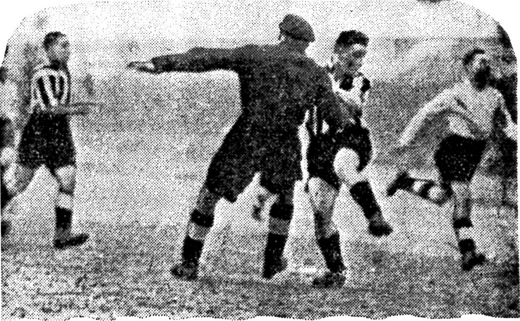 Wynn scoring the first of his three goals against Darlington.