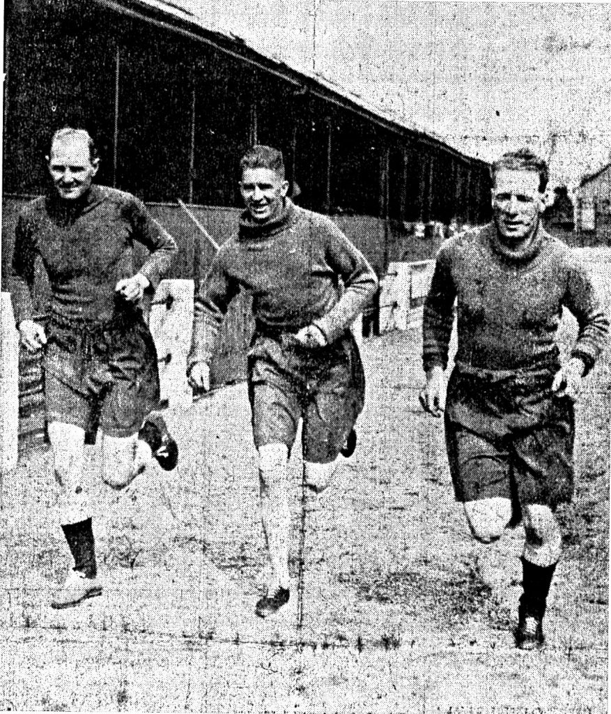 New half-backs Newcomb, Frame and Crawford in pre season training in 1936/37