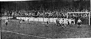 Joe Patrick scoring Southport's second goal against New Brighton, as seen from the stand.