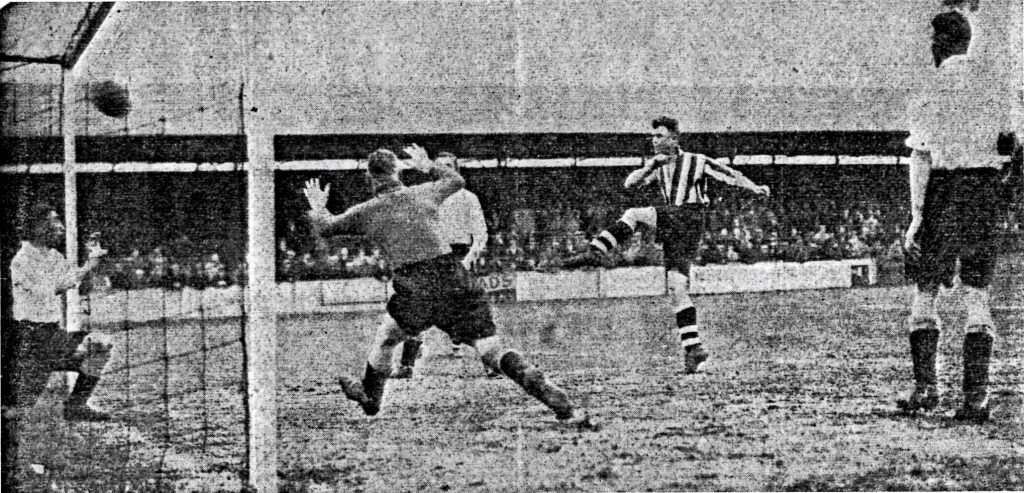 Patrick scoring his second goal against Hartlepools United