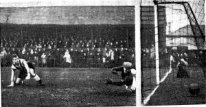 Joe Patrick opens the scoring in the FA Cup replay with Scarborough in Nov 1938