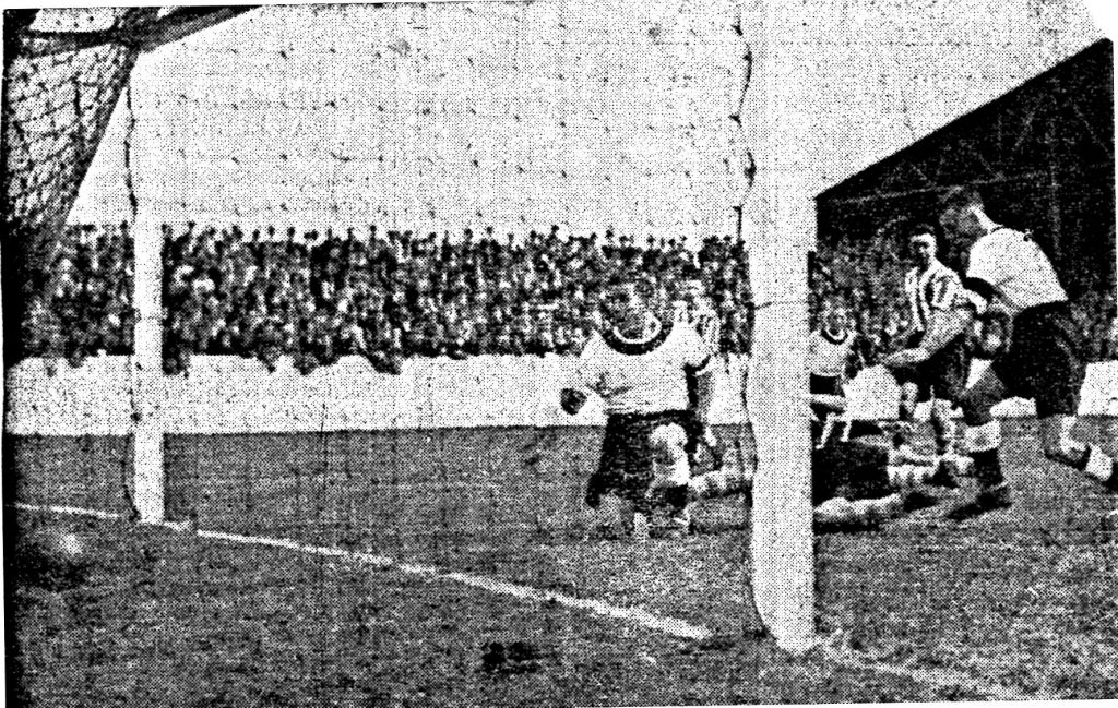 Charlie Reed scores the opening goal of Southport's season against Chester in 1935