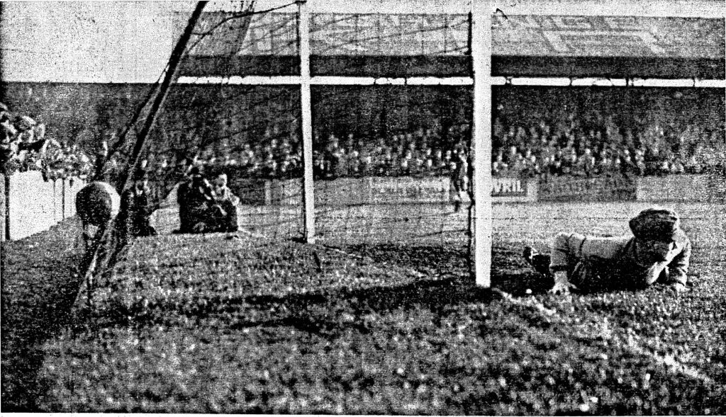McKay's spectacular opening goal at Haig avenue, with the ball lodged on the back of the net.