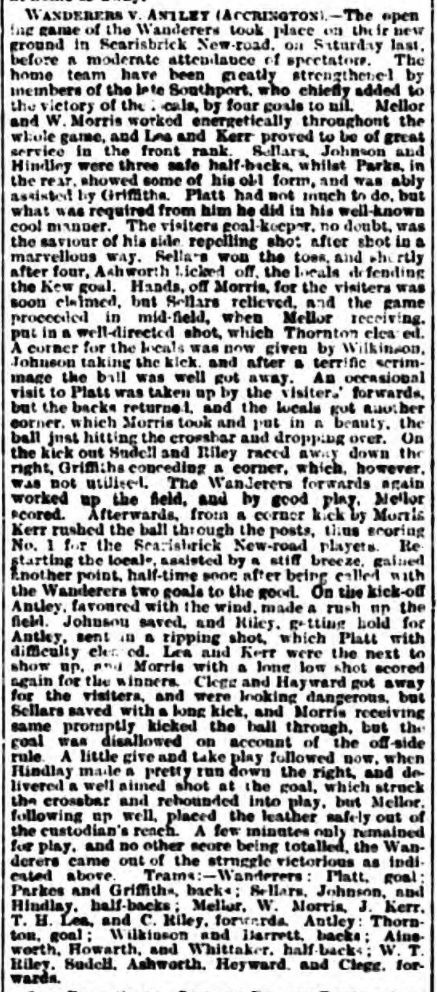 Southport Wanderers v Antley - 18/09/1886
